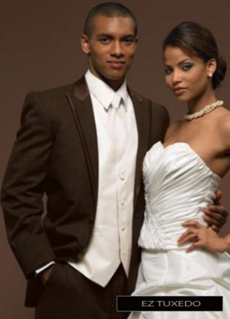 SSKU#ZA3802 Fitted Slim Fitc Cut Parisian Collection Chocolate Peak Tuxedo $236