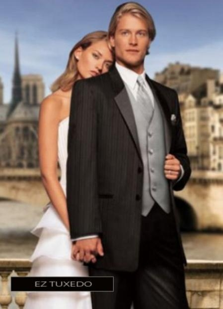 SKU#XS9637 Fitted Slim Fitc Cut Parisian Black Notch Tuxedo