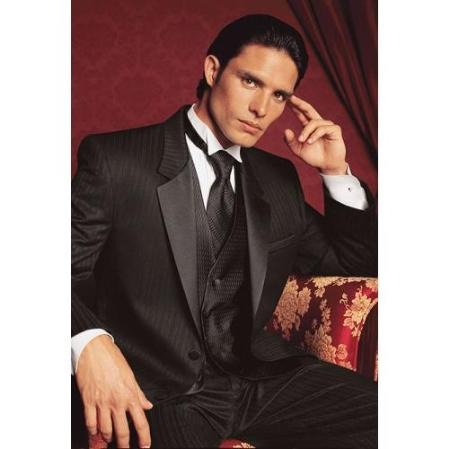 SKU#RT9483 Fitted Slim Fitc Cut Parisian Tuxedo - Black on Black Stripe Tuxedo $299