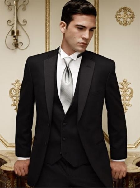 SKU#AL4887 Fitted Slim Fitc Cut Ridge Basic Notch Tonal Tuxedo Black $256