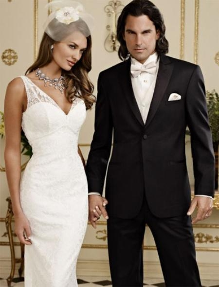 SKU#BF8470 Fitted Slim Fitc Cut Ridge Basic Peak Tonal Tuxedo Black $256