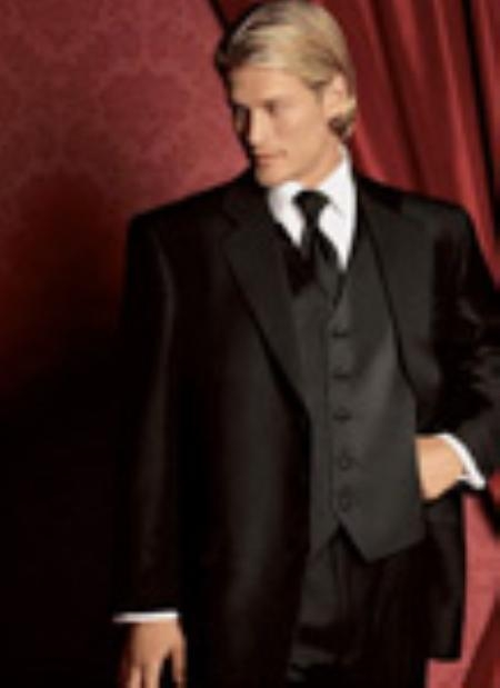SKU#TX1199 Fitted Slim Fitc Cut Traditional Tuxedo Black