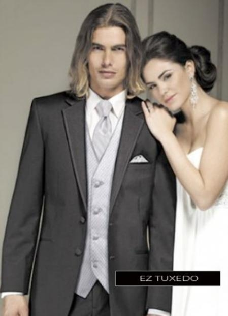 SKU#GV4945 Fitted Slim Fitc Cut Twilight Black Tuxedo $236