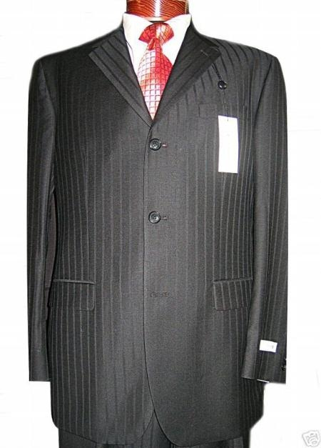 SKU# WE418 Jet Black Ton On Ton Super 120s Wool & Cashmere premier quality italian fabric Design  3 buttons $195