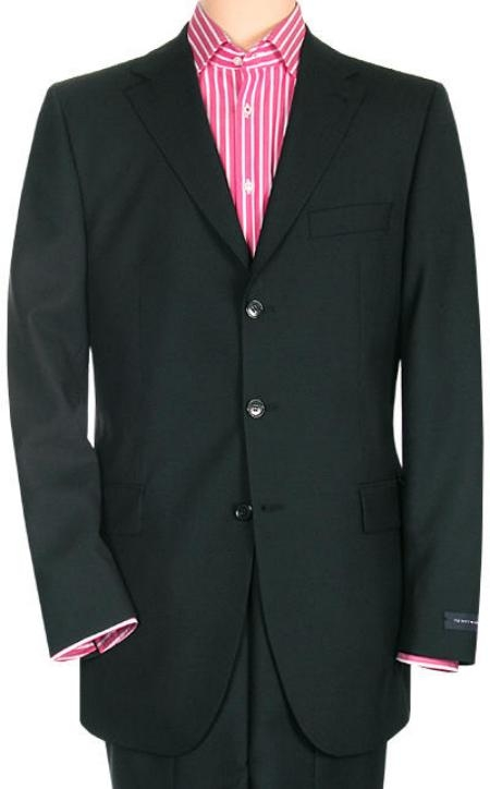 SKU# ZT34 Jet Power Black Solid Black With Sheen!! Super 150s Mens Suit Side Back Vent