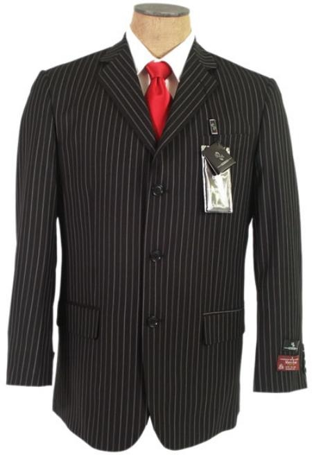 SKU# ANS593 John Paul Black Pinstripe Super 120's Wool premier quality italian fabric Design 3 Buttons