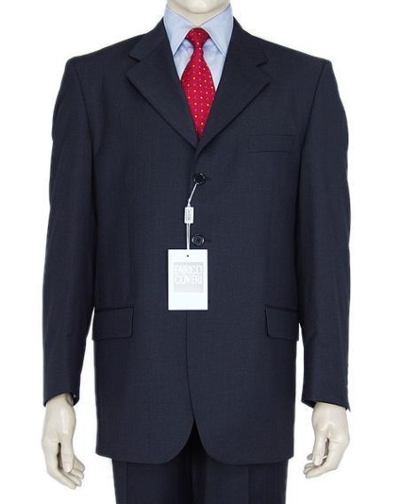 SKU# Z165BL Classic Navy Blue 3 Button Business Suit w/Double Vent Jacket Super 140