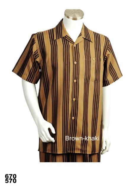 SKU#BK9272 Casual Walking Suit Set (Shirt & Pants Included) Brown-Khaki