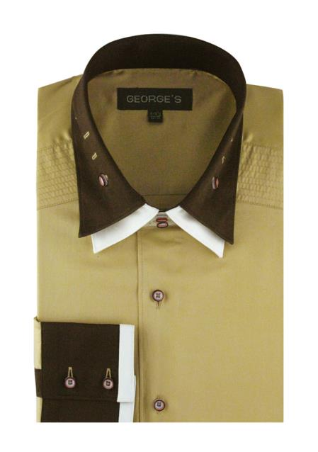 Solid Khaki 100% Cotton Double Spread Collar French Cuff Men's Dress Shirt