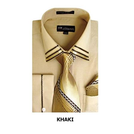 Long Sleeve Fashion Tie Set Khaki Men's Dress Shirt