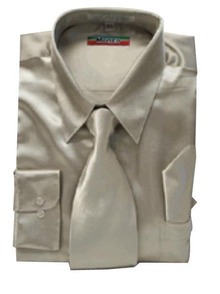 SKU#KG311 Mens New Mezzo Khaki Satin Dress Shirt Tie Combo Shirts