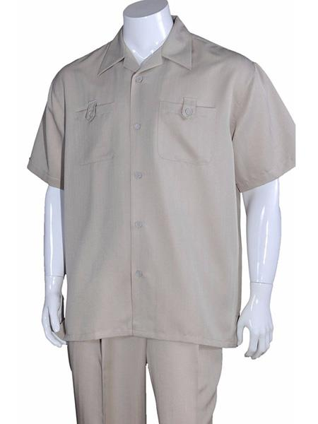 Mens 5 Button Casual Short Sleeve Solid Khaki 100% Polyester Casual Two Piece Walking Outfit For Sale Pant Sets Suits