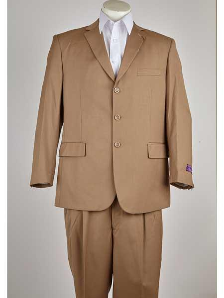 Mens Khaki Classic Fit 3 Button Notch Lapel Single Breasted Suit