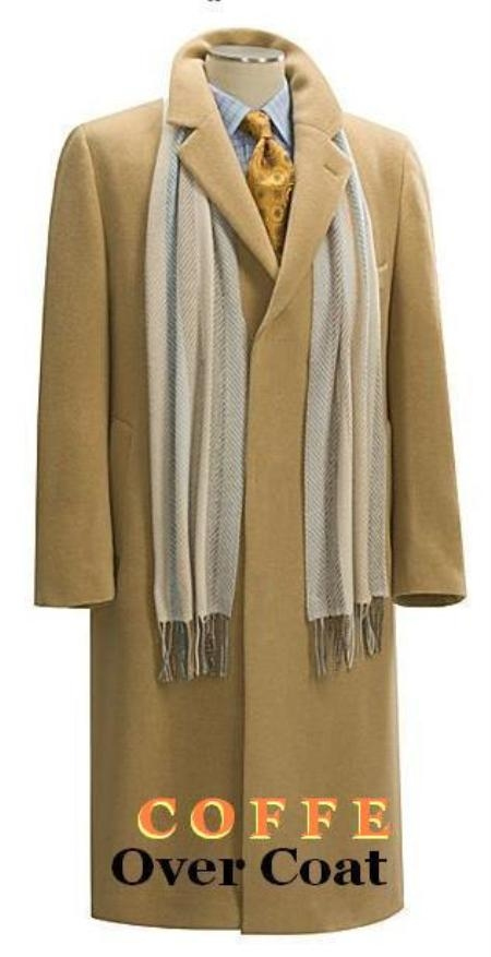 SKU#Coat03 Camel ~ Khaki~Bronz Mens Full Length Overcoat in Pure Wool Blend 3 Button Style Fully Lengh Coat