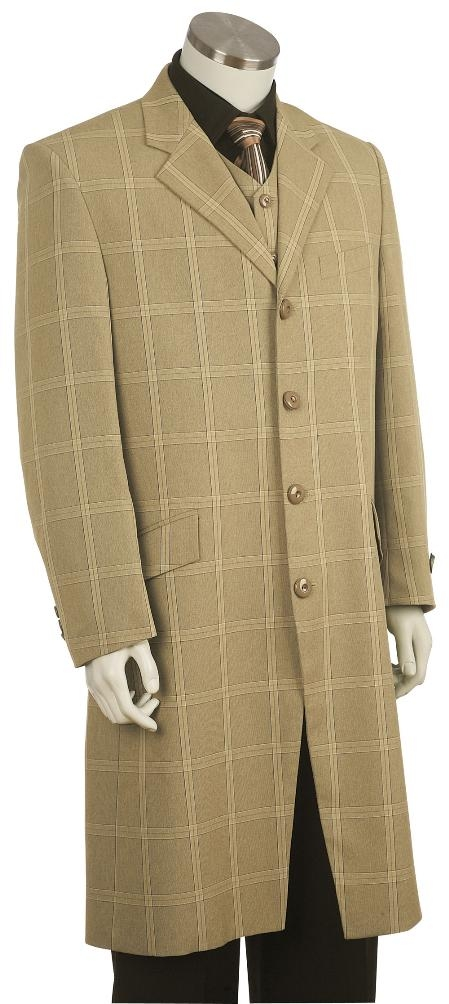 Mens Plaid ~ Windowpane Fashion Zoot Suit Khaki ~ Tan ~ Beige