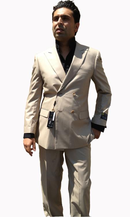 Khaki Double Breasted Suit
