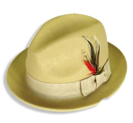 Buy N-2830 New Men's 100% Wool Fedora Trilby Mobster Hat Khaki