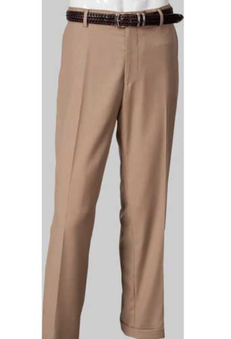 Mens Flat Front Khaki ~ Tan Slim Fit Mens Tapered Mens Dress Pants unhemmed unfinished bottom