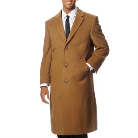 Long Wool Winter Dress Knee length Coat Mens Dress Coat Harvard Camel ~ Khaki Cashmere Blend Long Top Coat
