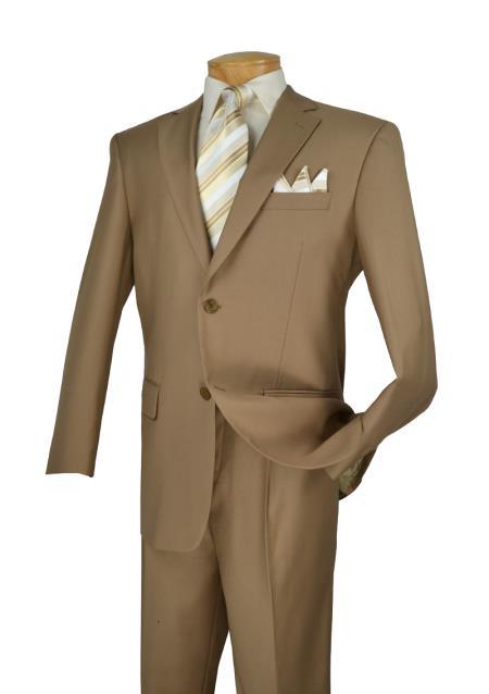 Khaki 2 Button Mens Suits 2 Piece Italian Cut