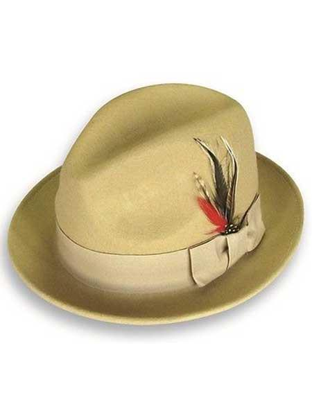 Buy SM1208 Men's Khaki 100% Wool Fedora Trilby Mobster Satin Band Hat