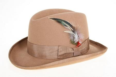 Mens Dress Hats Wool Felt Fedora Camel ~ Khaki