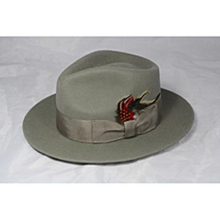 Grey Green Fedora Hat