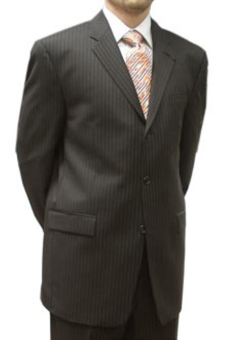 SKU#JJH133  Cotton Summer Light Weight Chocolate Brown Pinstripe Single Breasted 3 Button Side Vents $259