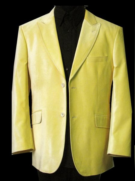 SKU#SK511 LB-313 Solid Yellow Velvet Sport Coat This Jacket Is A Winner 2 Button With Back Vent $495