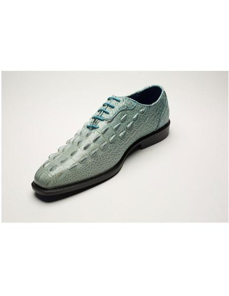 Mens Two Toned Lace Up Light Blue World Best Alligator ~ Gator Skin Print Dress Shoes