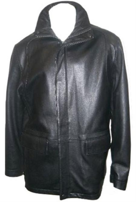 Mens Hidden Hood with New Zealand Lamb Leather Zip Coat Black Big and Tall Bomber Jacket