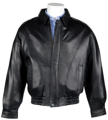 Buy MK833 Mens Lamb Leather Zip-Out Liner Classic Cut Bomber Jacket Black
