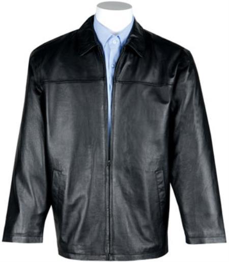 Buy MK834 Mens Lamb Leather Zip-Out Liner JD Dress Jacket Black