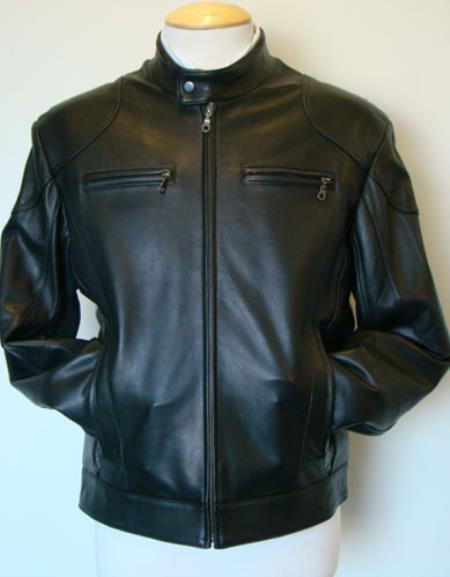 Mens Lamb Leather Racing Black Jacket MK842