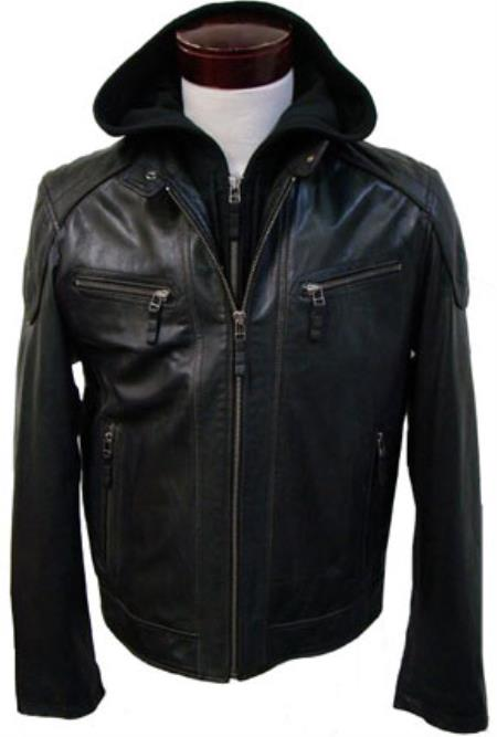 Mens Removable Hood with Lamb Leather Moto Brown Available in Big and Tall Bomber Jacket