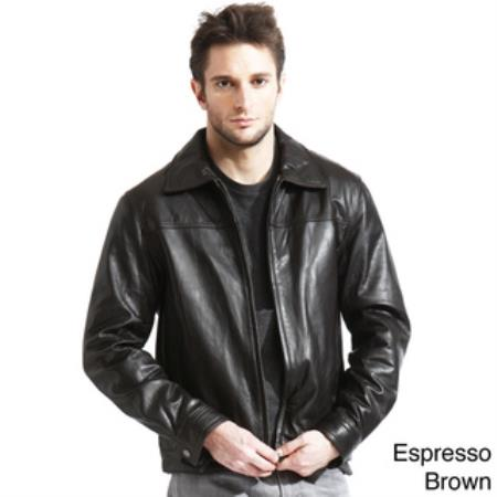 Mens Genuine Lambskin Leather Jacket Black,Brown Available in Big and Tall Bomber Jacket