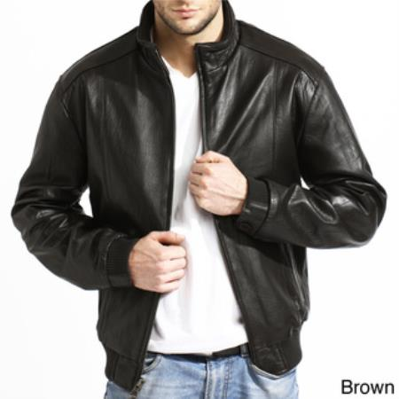 Mens Lambskin Leather Black,Brown Available in Big and Tall Bomber Jacket