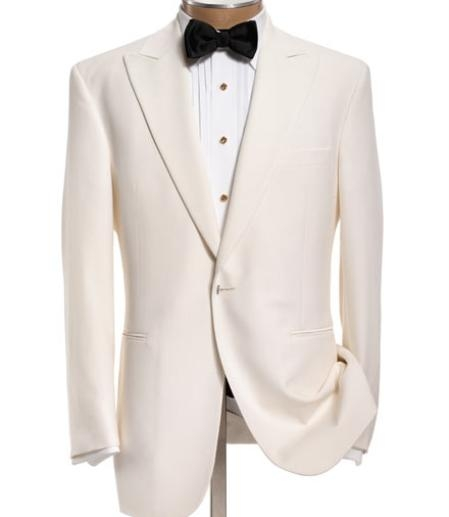SKI#MU104  Peak Lapel Collar Snow White 1 Button Tuxedo Jacket + Pants $149