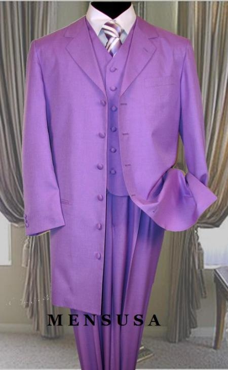 SKU#73P Emil_T75 Lavender 3PC ZOOT SUIT WITH VEST 38INCH LONG JACKET WITH COVERED BUTTON