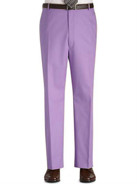 Stage Party Pants Trousers Flat Front Regular Rise Slacks - Lavender