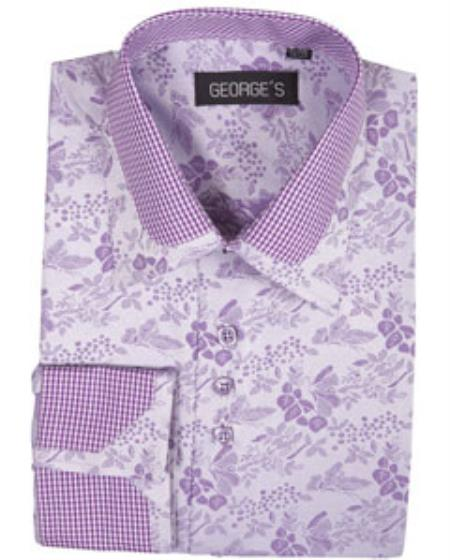 Buy SS-GQ32 High Collar Club Style Lavender Pattern Shirts