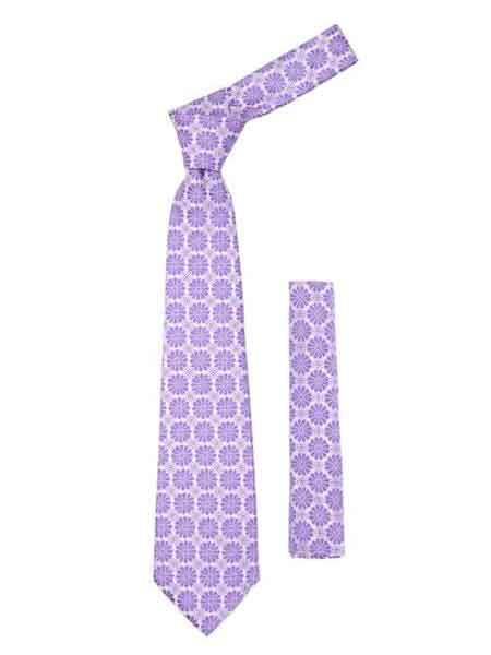 Lavender Floral Design Fashionable Necktie With Handkderchief Set