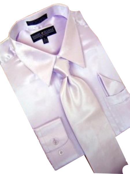 SKU#KV901 Satin Lavender Dress Shirt Tie Hanky Set