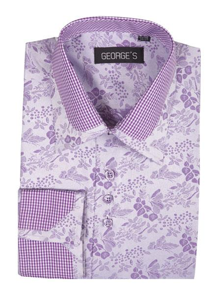 Men's Lavender Floral Pattern Classic Fit Standard Cuff Shirt