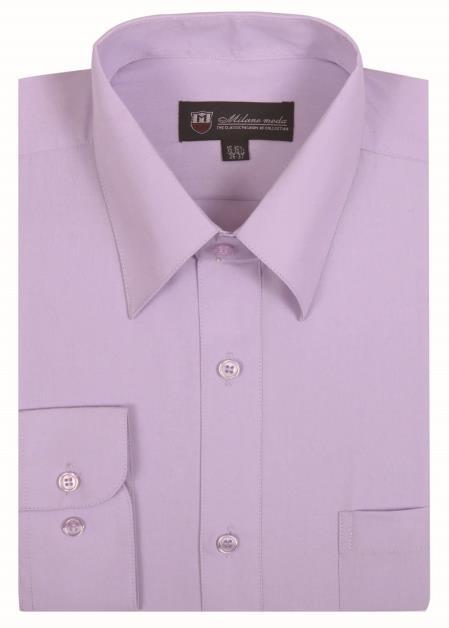 Plain Solid Color Standard Cuff Traditional Lavender Men's Dress Shirt