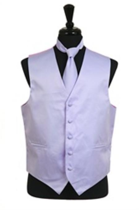 Dress Tuxedo Wedding Vest Tie Set Lavender