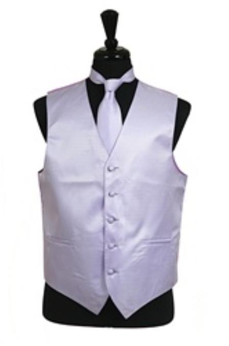 Horizontal Rib Pattern Dress Tuxedo Wedding Vest Tie Set Lavender