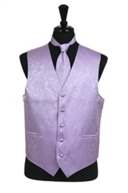 SKU#VS2786 Paisley tone on tone Vest Tie Set Lavender