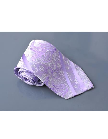 Millani Lavender 100% Polyster Fashion Jacquard Woven Necktie For Men