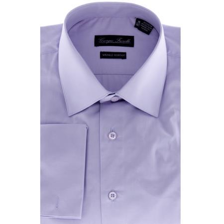 Modern-Fit Solid Lavender Men's Dress Shirt